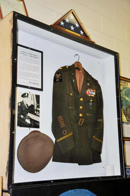 Uniform on display at the Camp Gordon Johnston World War II Museum. Photo by Mary Ann DeSantis.