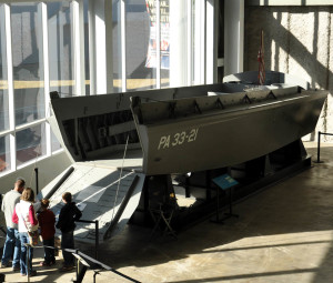 Higgins Boat in lobby of National WWII Museum