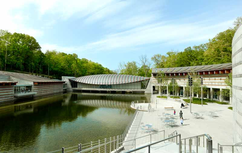The view at the Crystal Bridges Museum of American Art in Bentonville