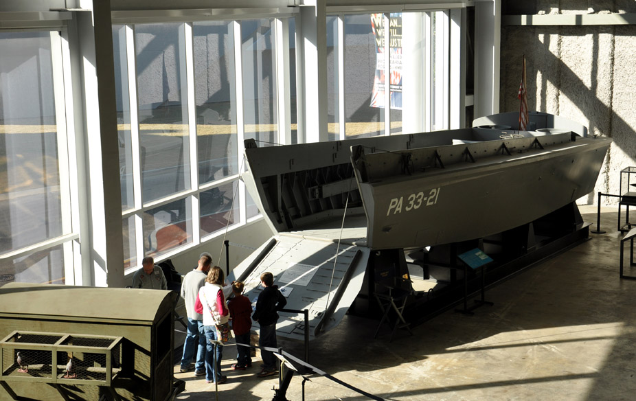 A Higgins boat on display at the National WWII Museum.