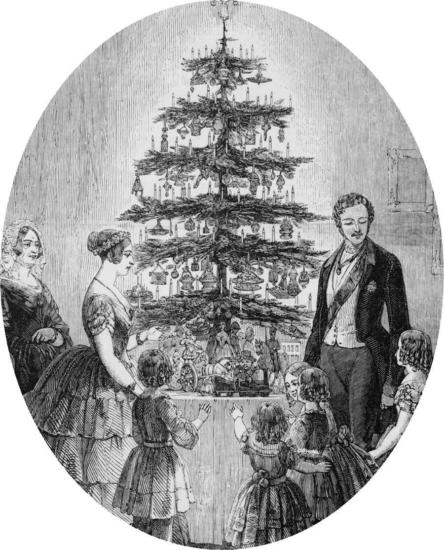 Christmas Tree at Windsor Castle -  from An Illustrated London, c. 1848